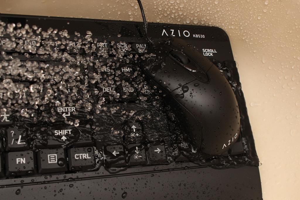 AZIO KB530 & MS530抗菌可沖洗有線鍵盤滑鼠-髒了水洗就對了!7677