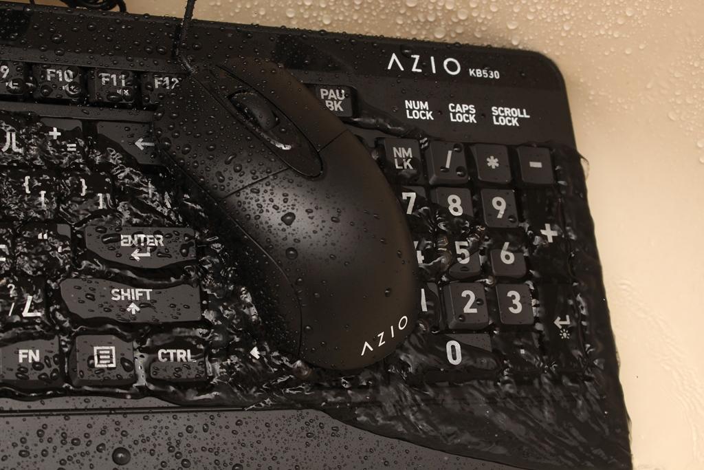 AZIO KB530 & MS530抗菌可沖洗有線鍵盤滑鼠-髒了水洗就對了!7179