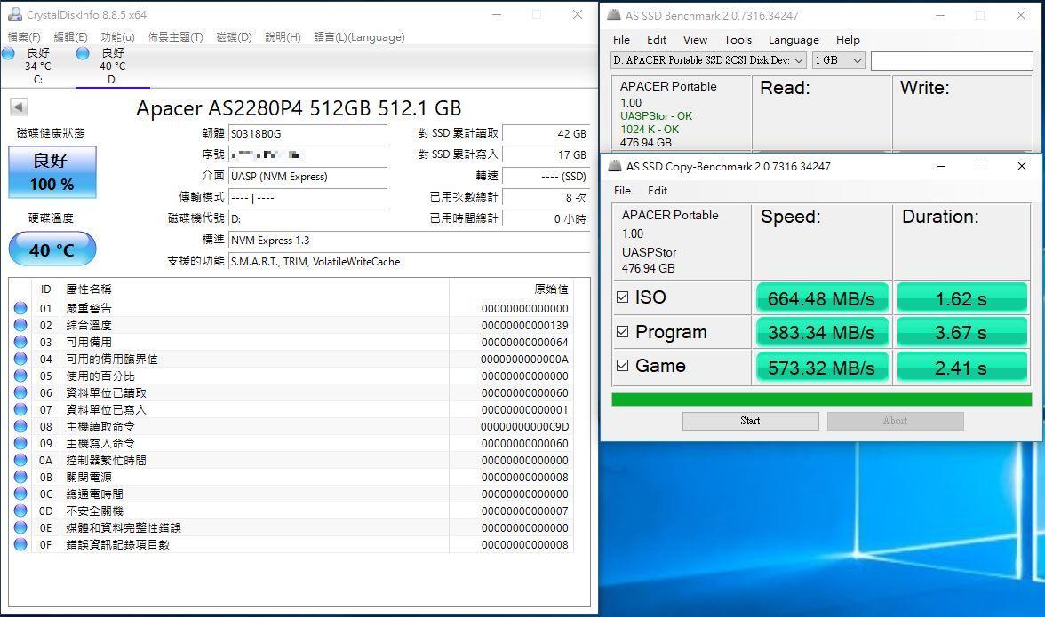 宇瞻Apacer AS722 USB3.2 Gen2 NVMe Type-C外接式固態硬碟-大容量與...9481