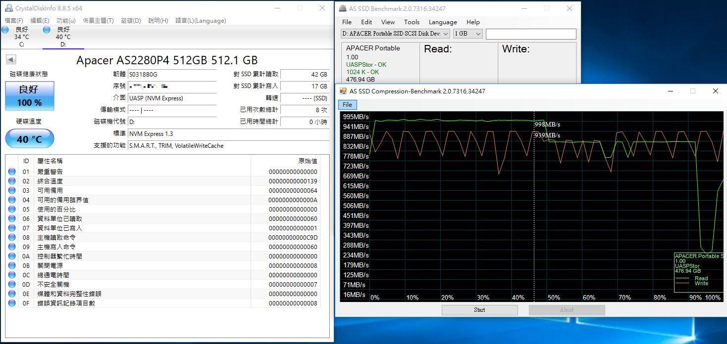 宇瞻Apacer AS722 USB3.2 Gen2 NVMe Type-C外接式固態硬碟-大容量與...2887