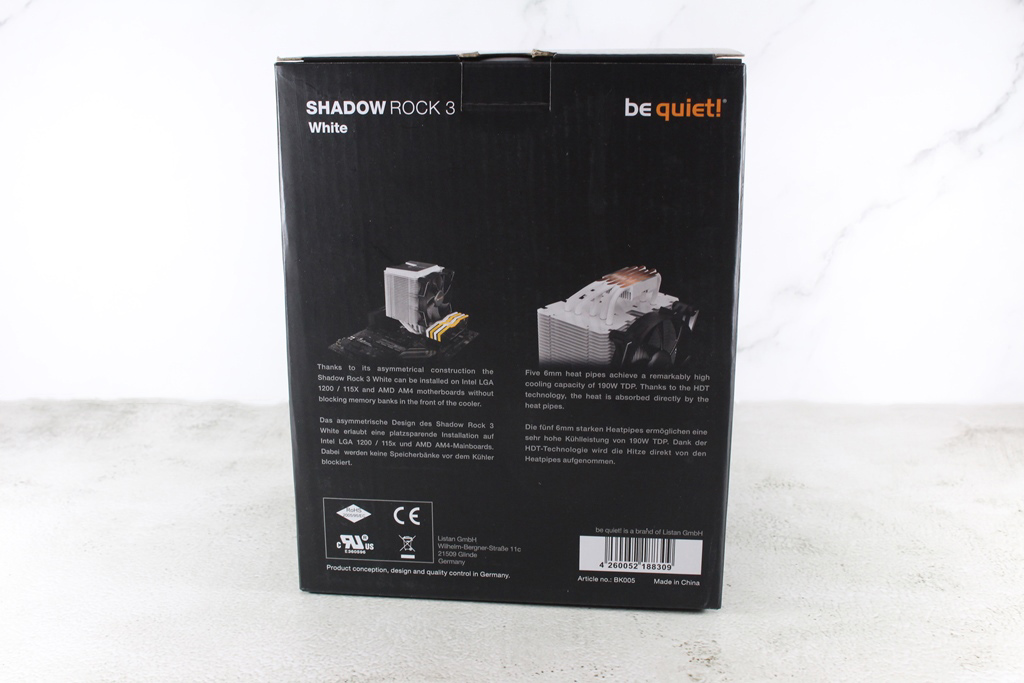 be quiet! SHADOW ROCK 3 White靜音散熱器-無光害黑白跳色新主流,就是要給你最安靜最潮的享受