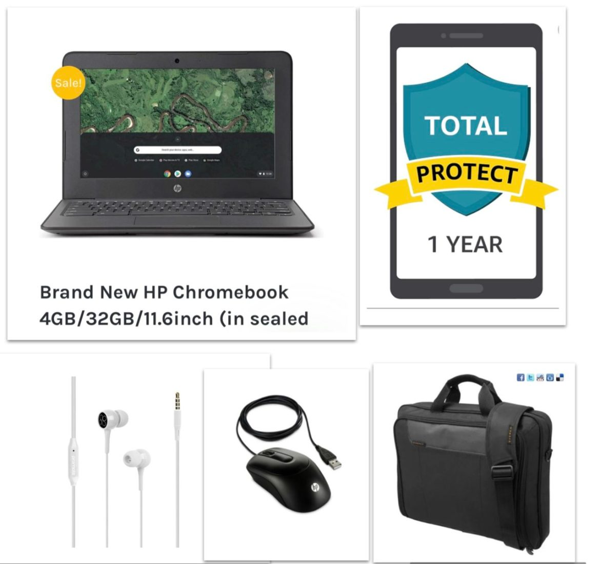 New HP Chromebook Bundle – Chromebook+Bag+Ear Phone+Mouse+12 Month Damage Protection