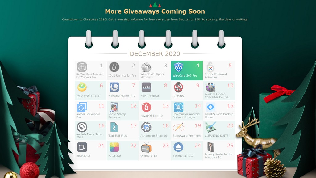 免費下載 | WinXDVD 聖誕活動,25款正版軟體每天大放送