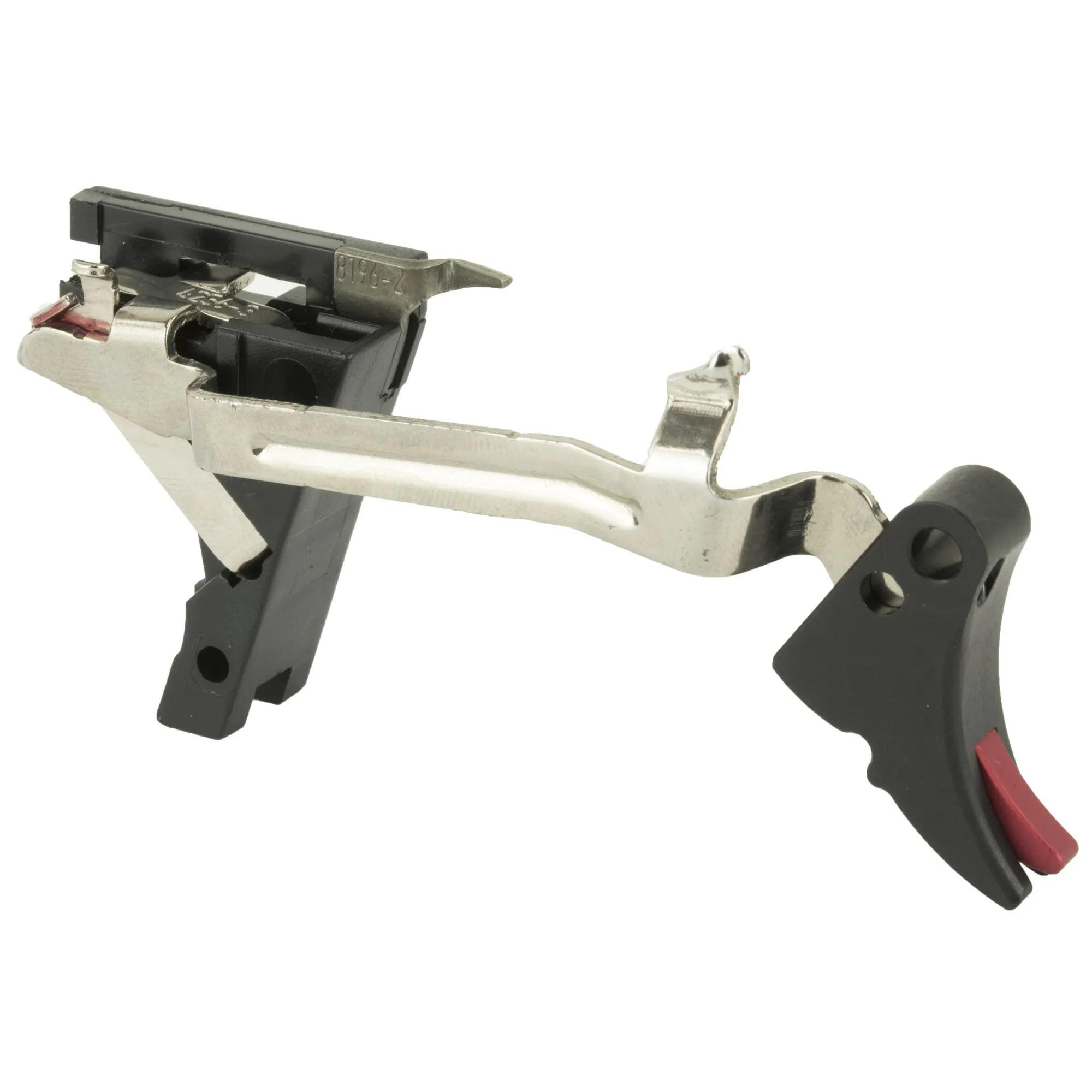 Zev Fulcrum Adjustable Drop-In Trigger Kit for Glock 10mm Gen 1-4 - Red  Safety