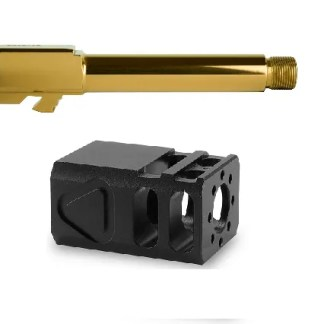 Glock 19 Gold Threaded Barrel TBC Comp Combo