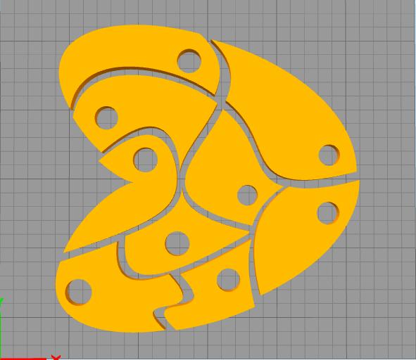 BS01造形物(ABS):9ピースのハートパズル