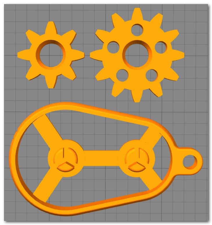 BS01 造形物(PLA):歯車キーチェーン