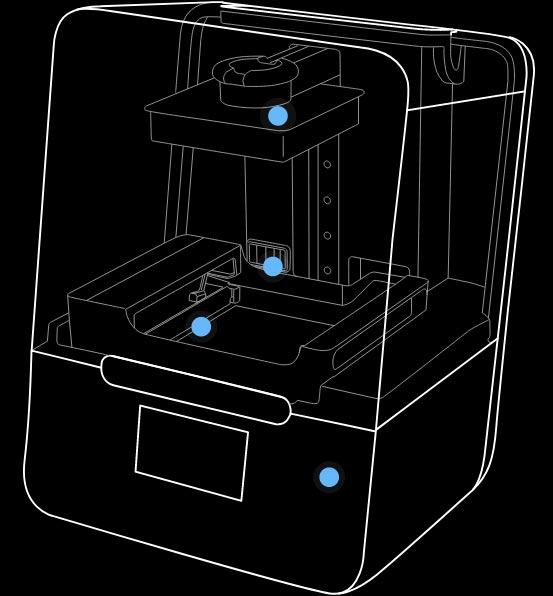 Formlabs Form 3 grafische Darstellung der Sensoren