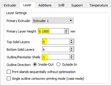 Simplify3D Layer Settings