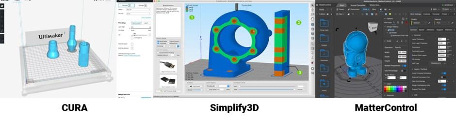 3D Printer slicers cura simplify3d and mattercontrol