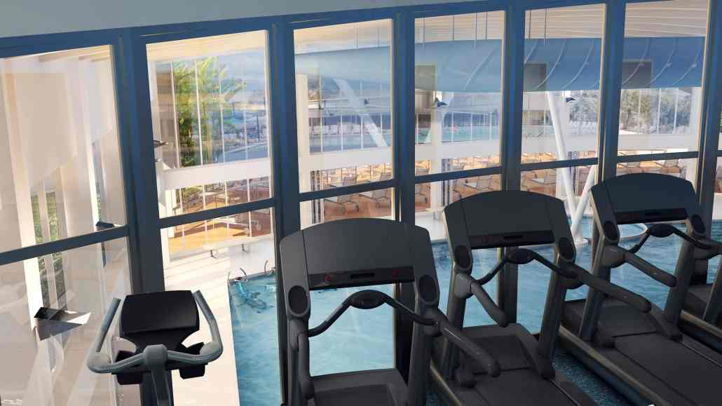Sun N Fun Exercise Room Overlooking Pool in Sarasota, Florida