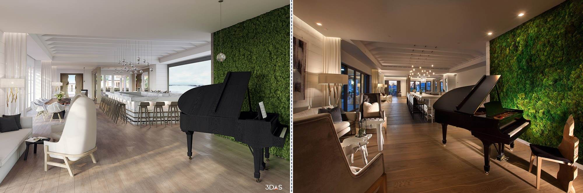 Bar Rendering (Left) and Photo (Right) - Kalea Bay in Naples, Florida