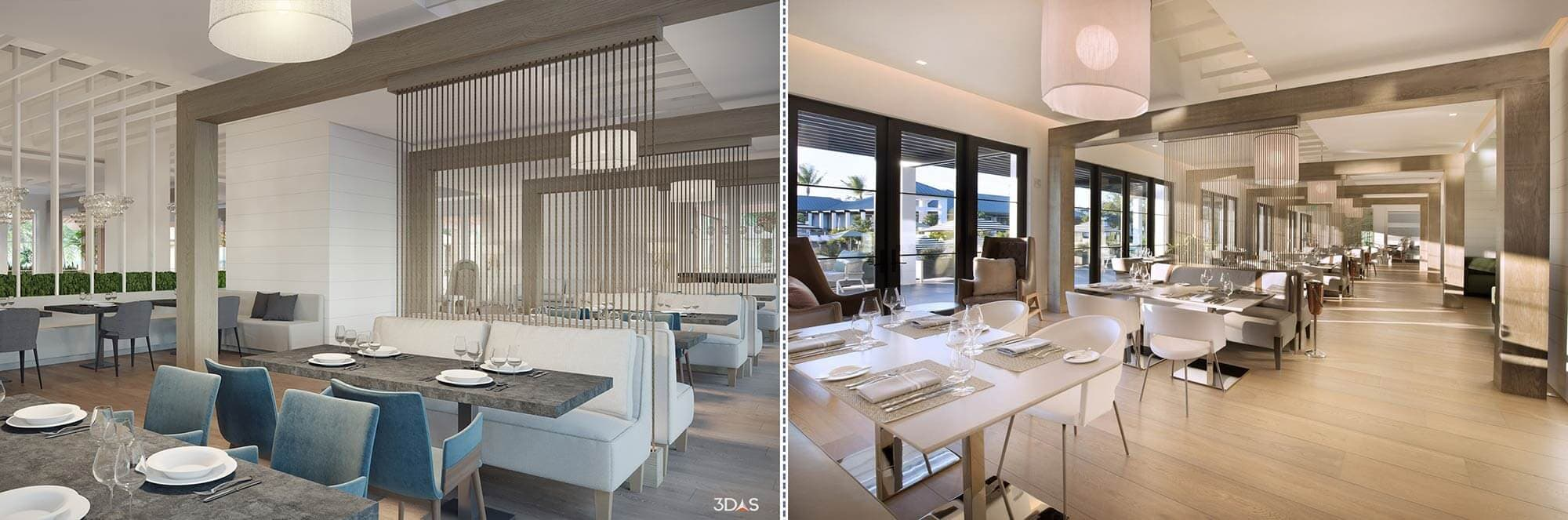 Kalea Bay Dining Room 3D Rendering (Left) and Photo (Right)
