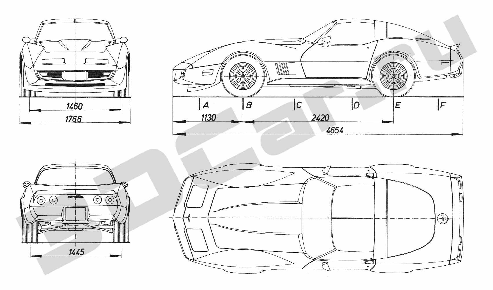 Chevrolet Corvette Blueprint Images