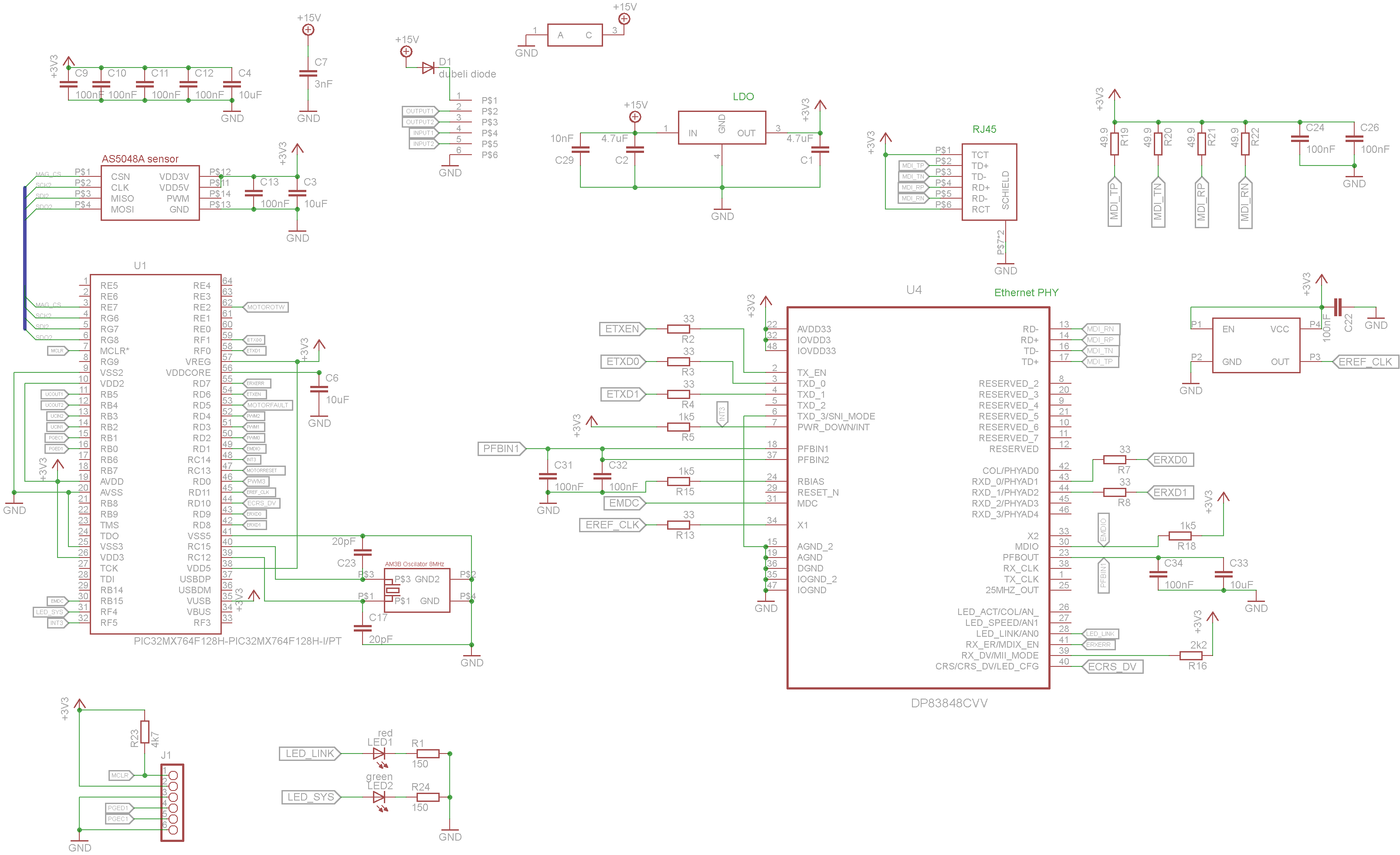 Pic32mx764 64pin And Ethernet Phy Schematics Beginner Question