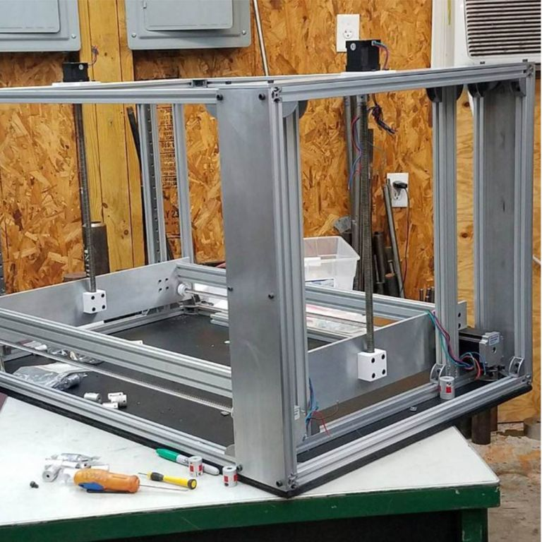 Workhorse large 3d printer with 3d printed lead screw nut mounts