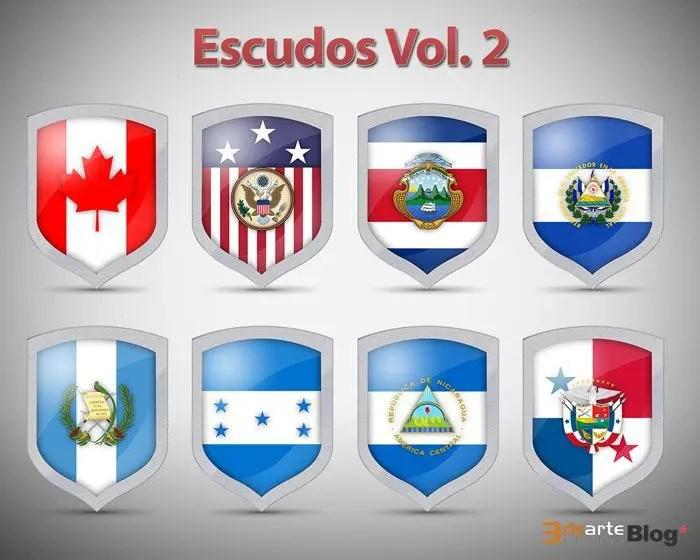 Iconos de escudos con banderas nacionales en PSD Vol.2. Gratis