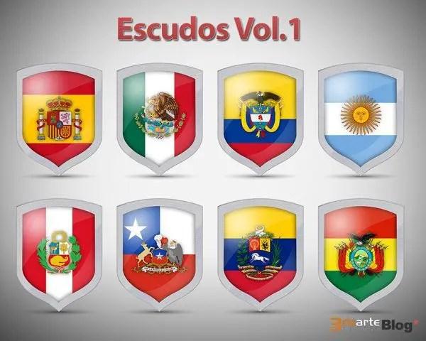 Iconos de escudos con banderas nacionales en PSD Vol.1. Gratis