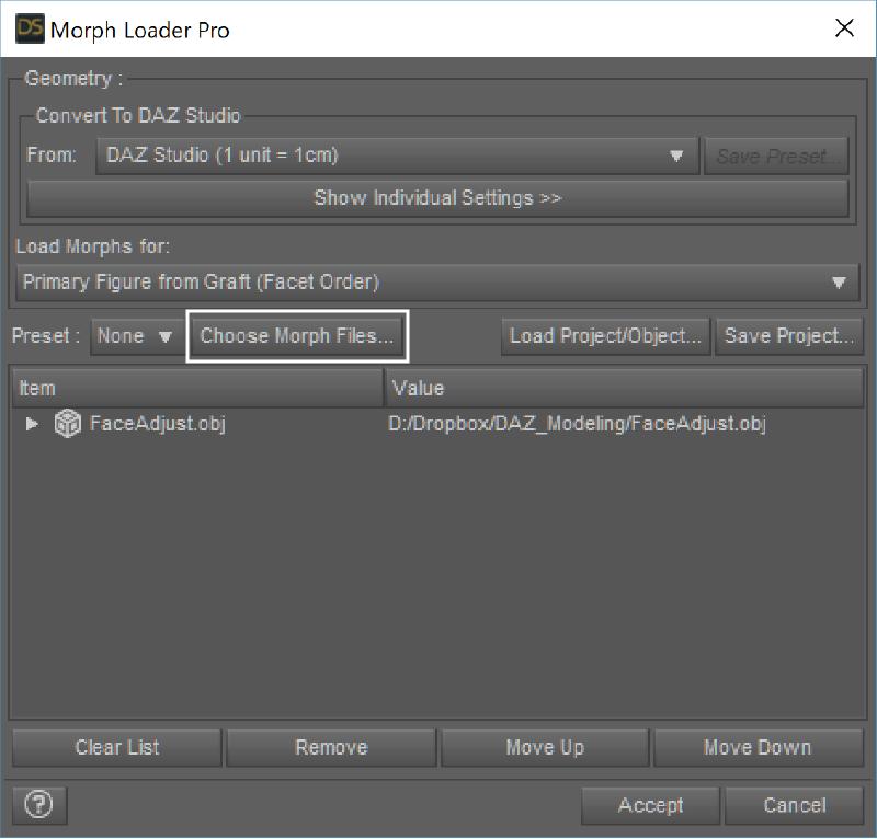 Choose Morph Files でエクスポートしたフィギアを選択