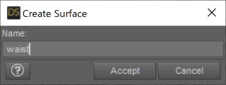 Create Surface ウインドウでサーフェスの名前をつける