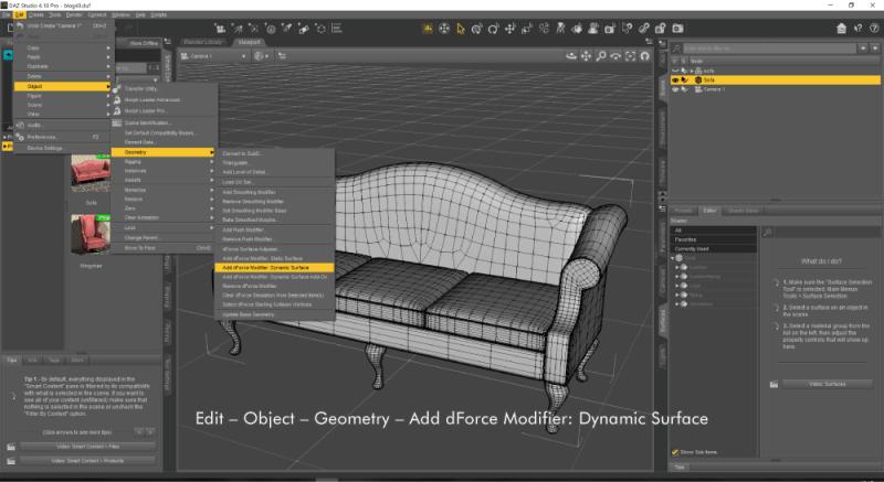 ソファーにDynamic Surfaceを設定する