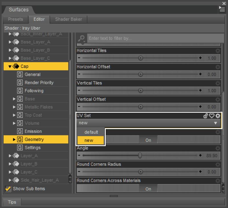 SurfacesペインでUV Setを切り替える
