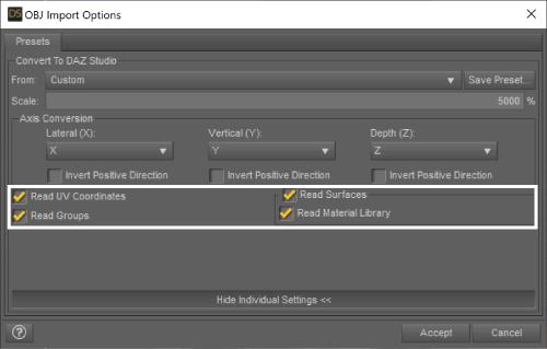 DAZ Studioのインポートオプション