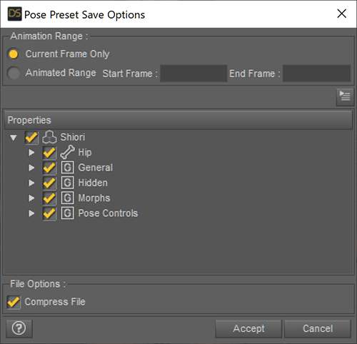 Pose Preset Save Option