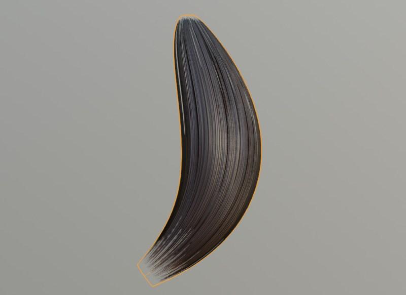 カーブで作った髪の房