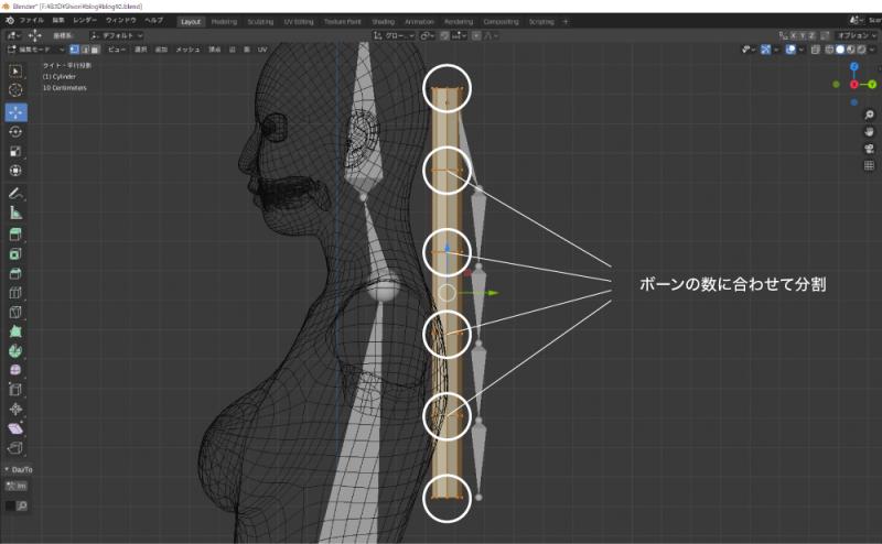 円柱を髪のボーンの数に合わせて分割