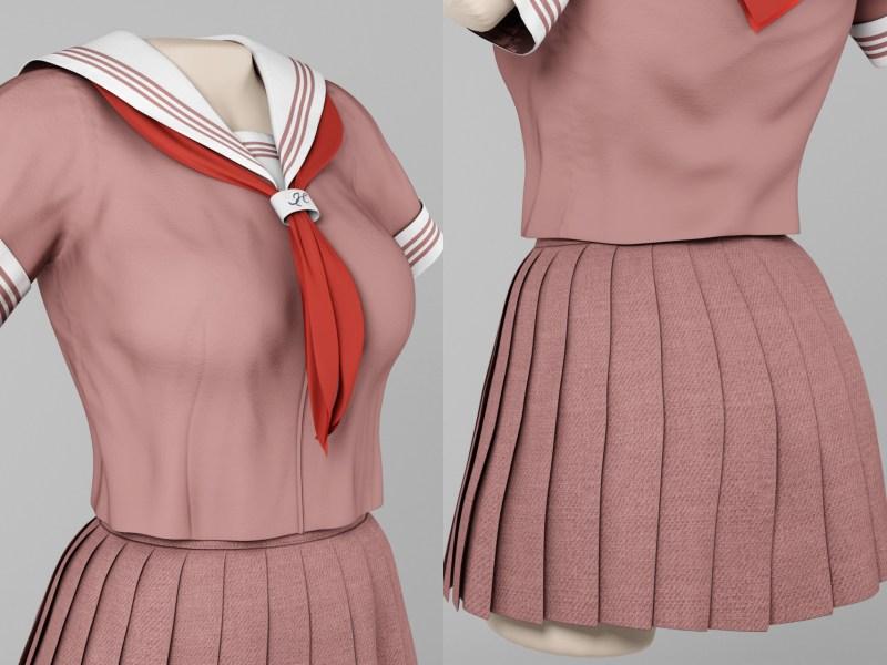 半袖セーラー服3Dモデル(ブラウン)