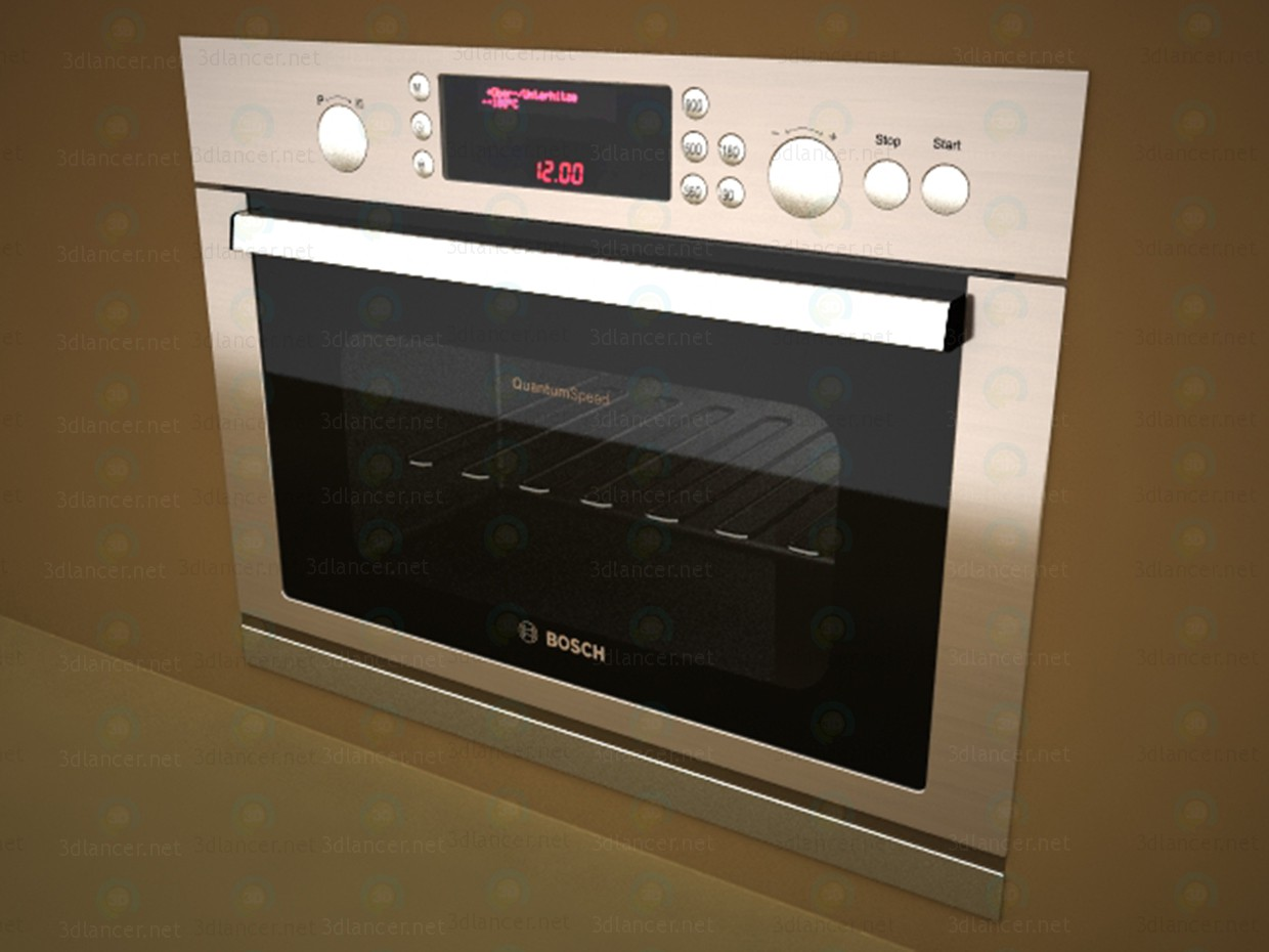 3d model microwave oven and bosch
