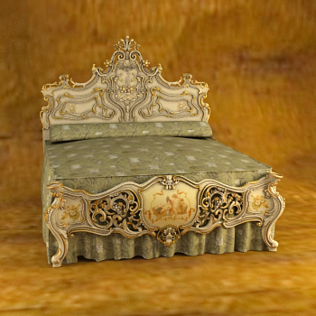 European Luxury Woodcarving Bed 3D Models 3D Model