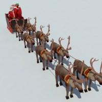 Santa Sleigh Reindeer 3D Model - Realtime