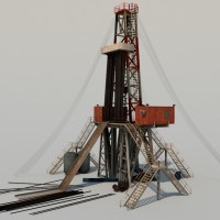 Land Drill Rig 3D Model - Realtime