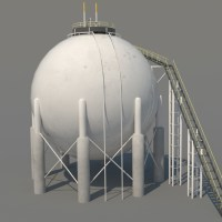 Sphere Oil Tank Silo 3D Model