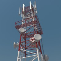 Telecommunication Tower 3D Model - Realtime