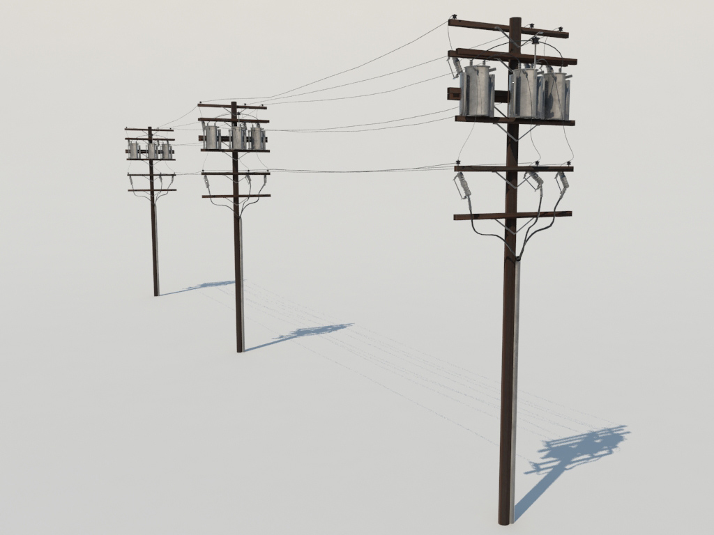 Powerline Utility Pole 3d Model