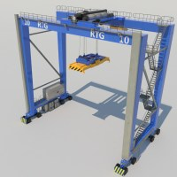 Rubber Tired Gantry Crane RTG Crane 3D Model - Realtime