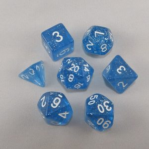 Dice Glitter Blue Polyhedral Dice Set