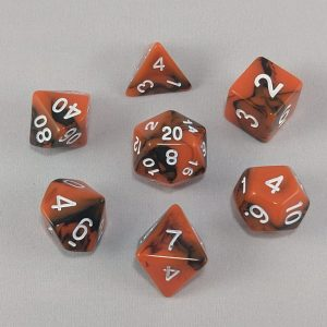 Dice Gemini Orange/Black with White Numbers Dice