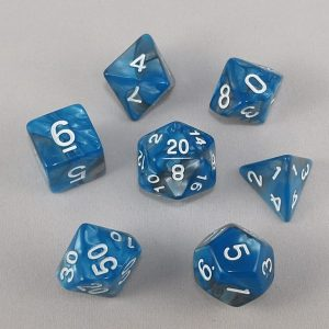 Dice Gemini Blue/Gray with White Numbers Dice