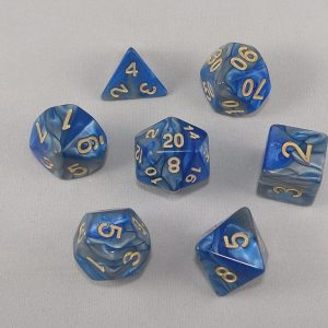 Dice Gemini Dark Blue/Gray with Gold Numbers Dice