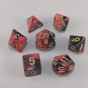 Dice Gemini Pink/Black with Gold Numbers Dice