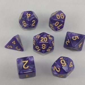 Dice Marbled Dark Purple with Gold Numbers Dice