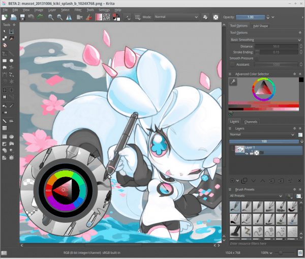 Krita 2.8 screenshot with its mascot Kiki