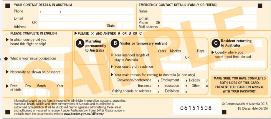 Karta pasażera wjeżdżającego doAustralii - przód