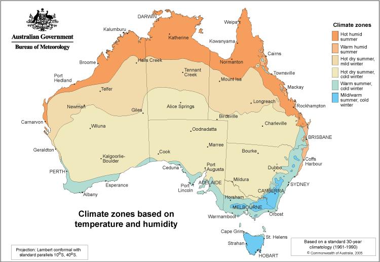 Australia strefy klimatyczne