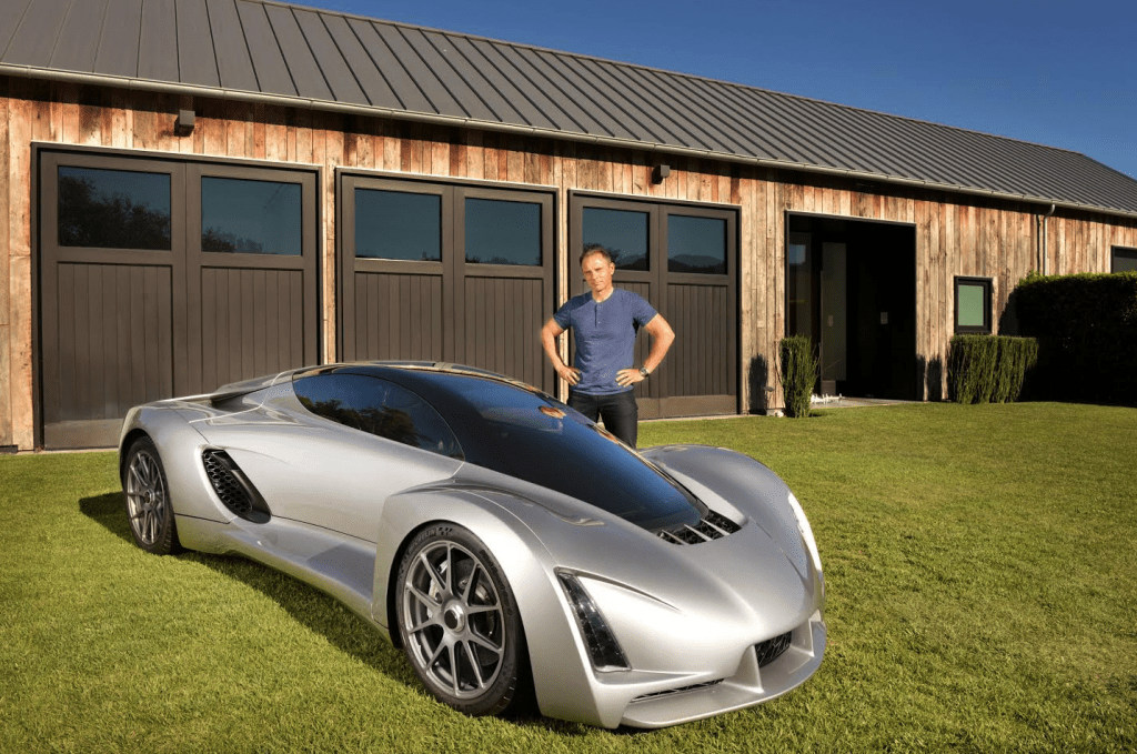 Kevin Czinger, Founder and CEO, Divergent Microfactories, Inc. with the Blade Supercar