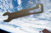 Tooling around on the International Space Station. A 3D printed KOBALT wrench made by the Additive Manufacturing Facility. Photo via Made in Space/NASA